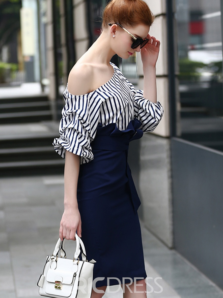 Ericdress Oblique Collar Stripe Ruffles Bodycon Dress