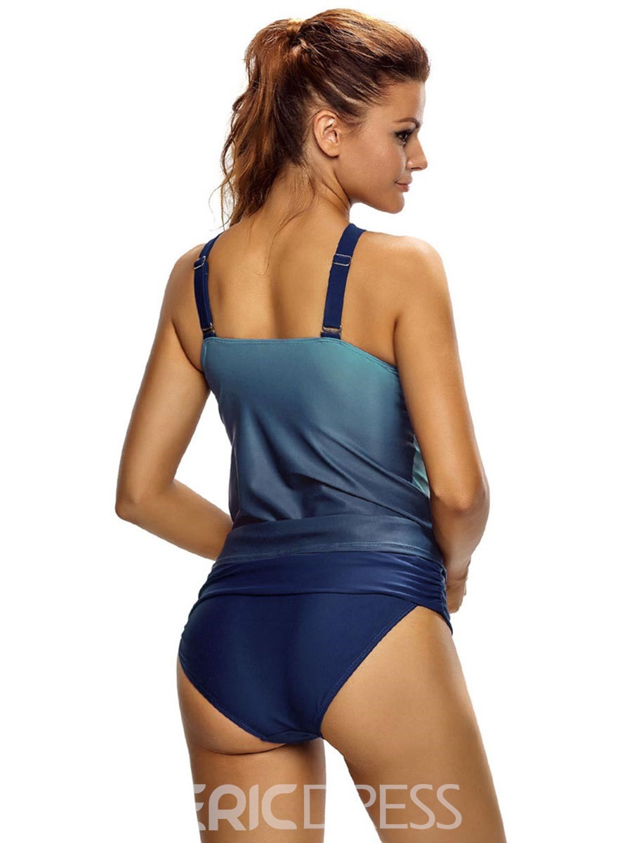 Ericdress Cross Strap Gradient Tankini Set