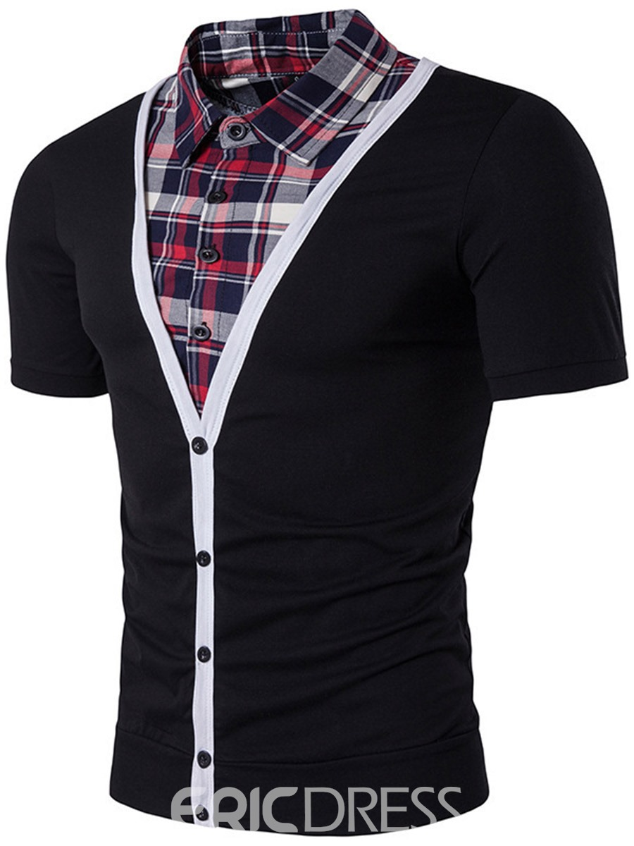 Ericdress Short Sleeve Double-Breasted Patched Casual Men's T-Shirt