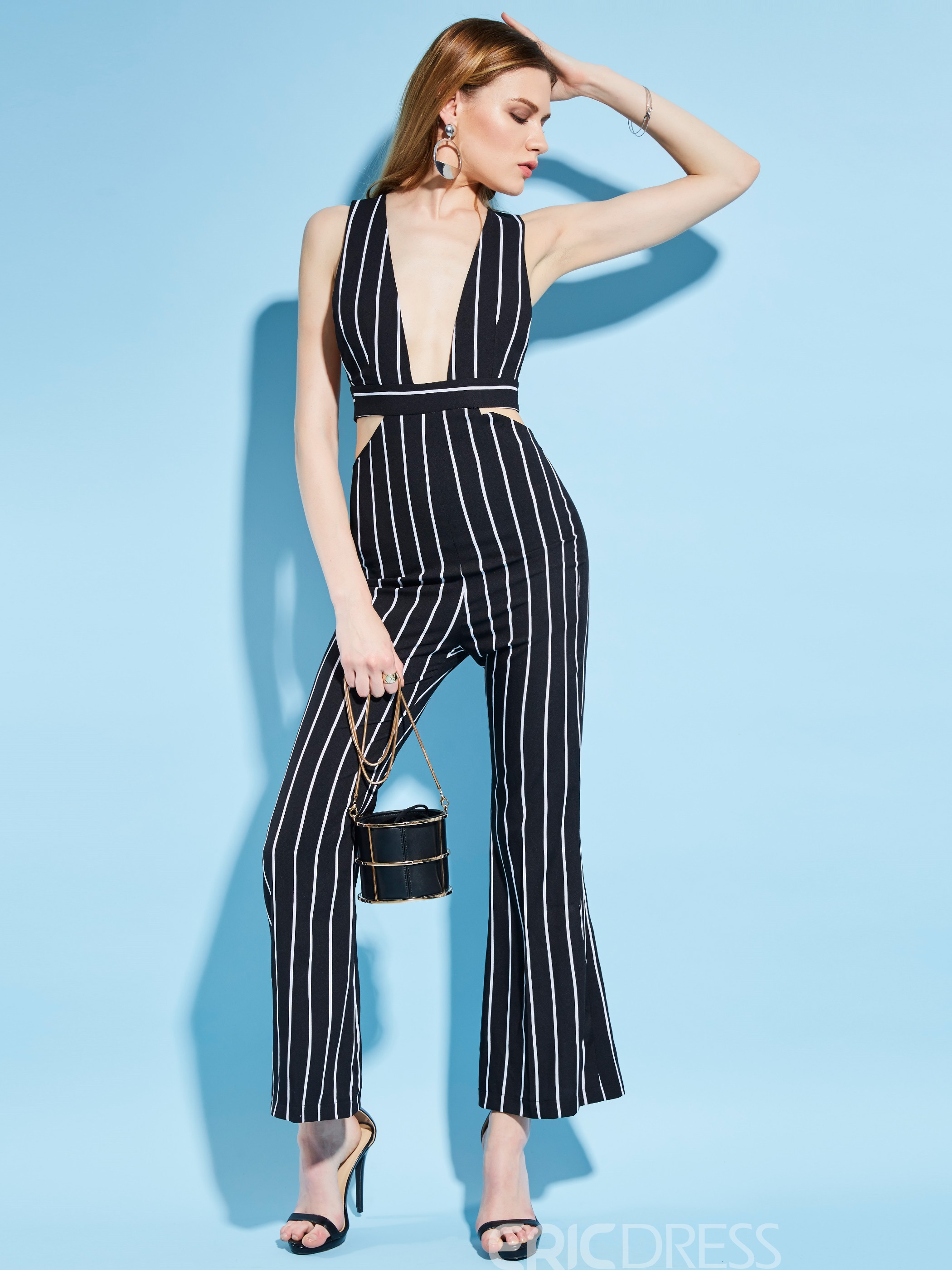 Ericdress Backless Bellbottoms Striped Jumpsuits Pants