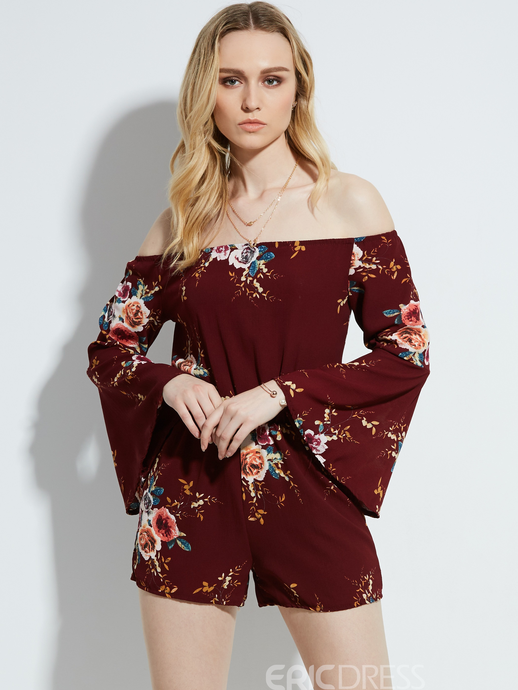 Ericdress Slim Bell Sleeve Flower Print Women's Jumpsuit