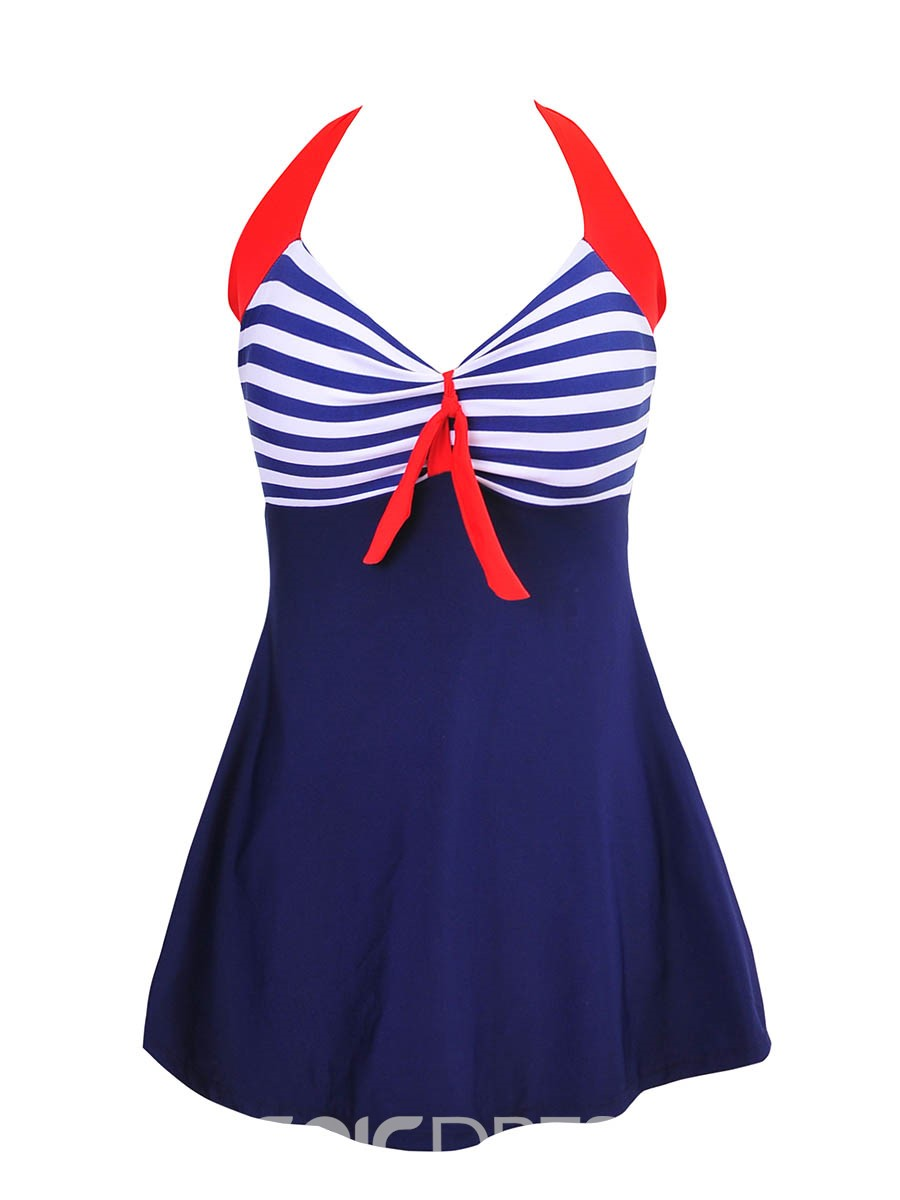 Ericdress Lace-Up Bowknot One Piece Swimwear