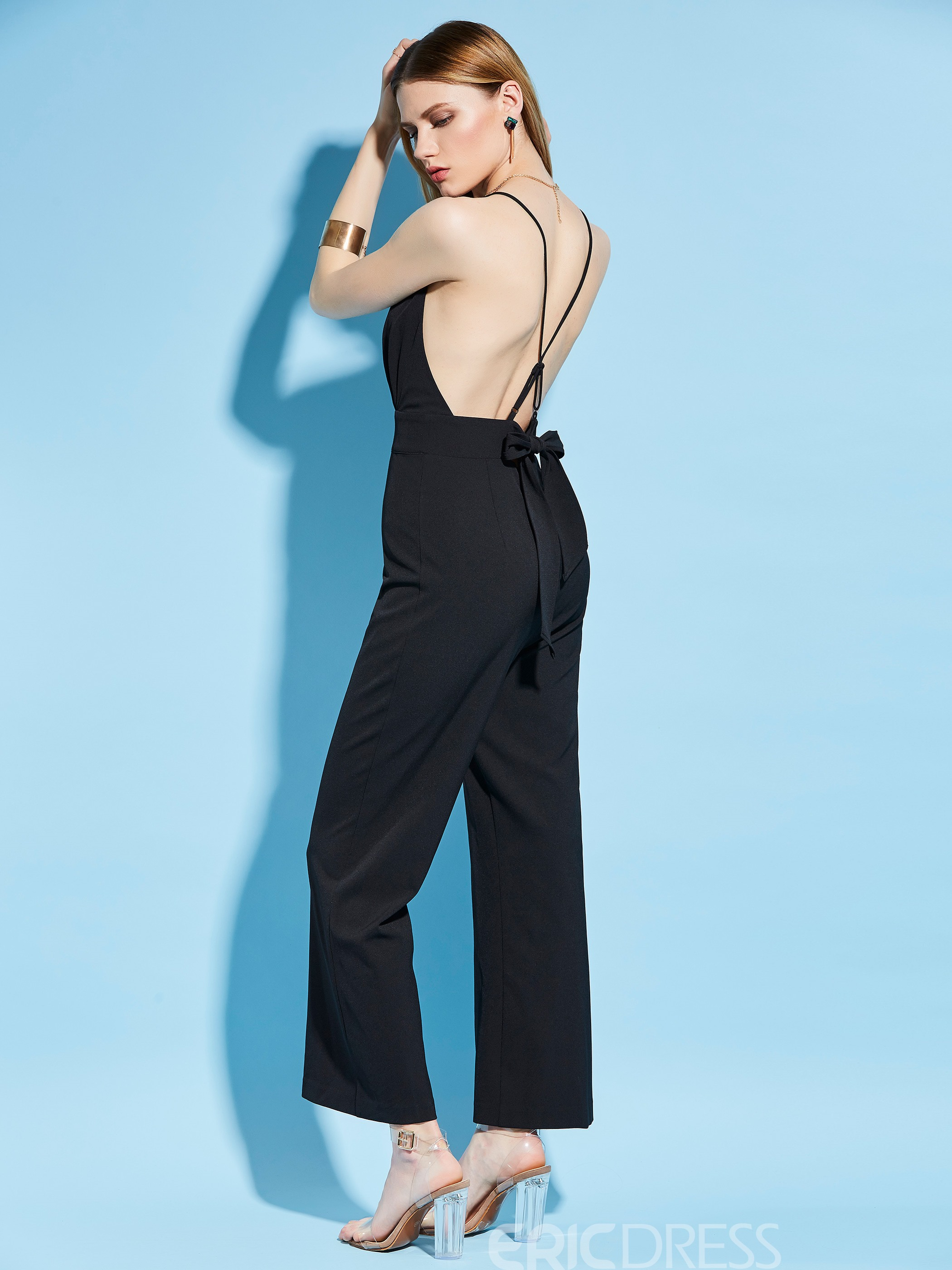 Ericdress Backless Deep V-Neck Bellbottoms Jumpsuits Pants