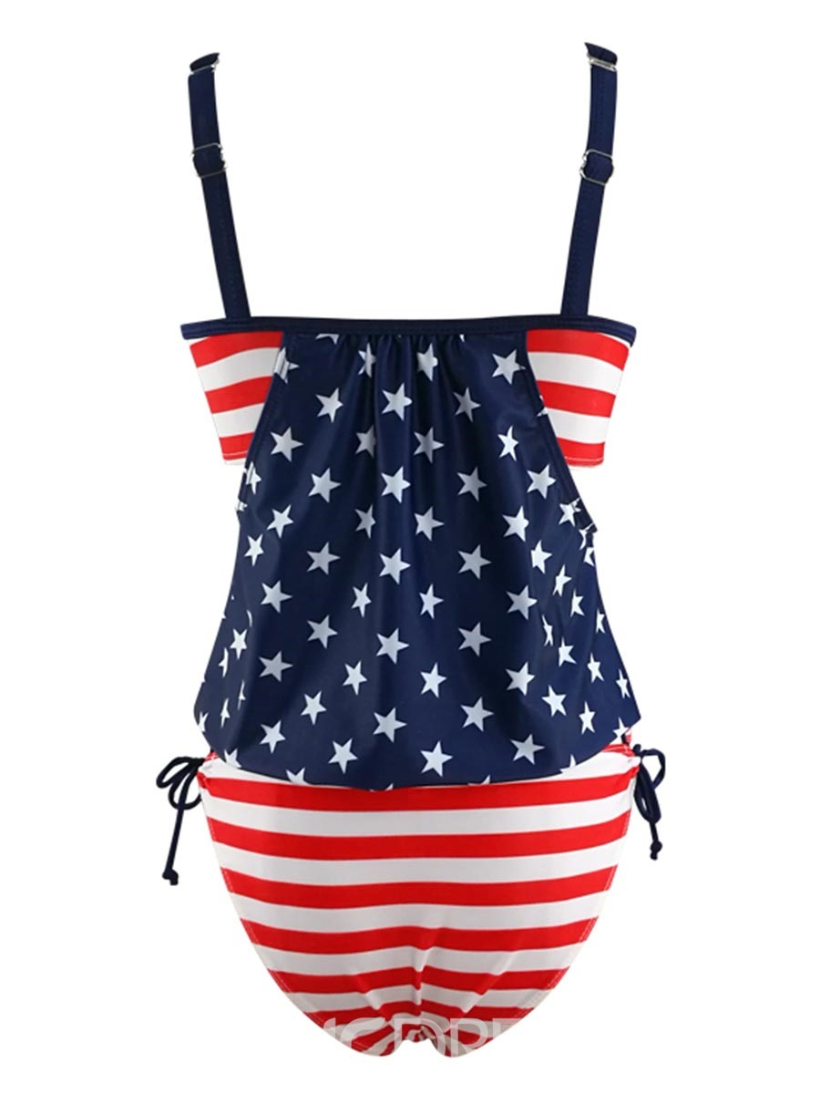 Ericdress Spaghetti Strap American Flag Tankini Set (Plus Size Available)