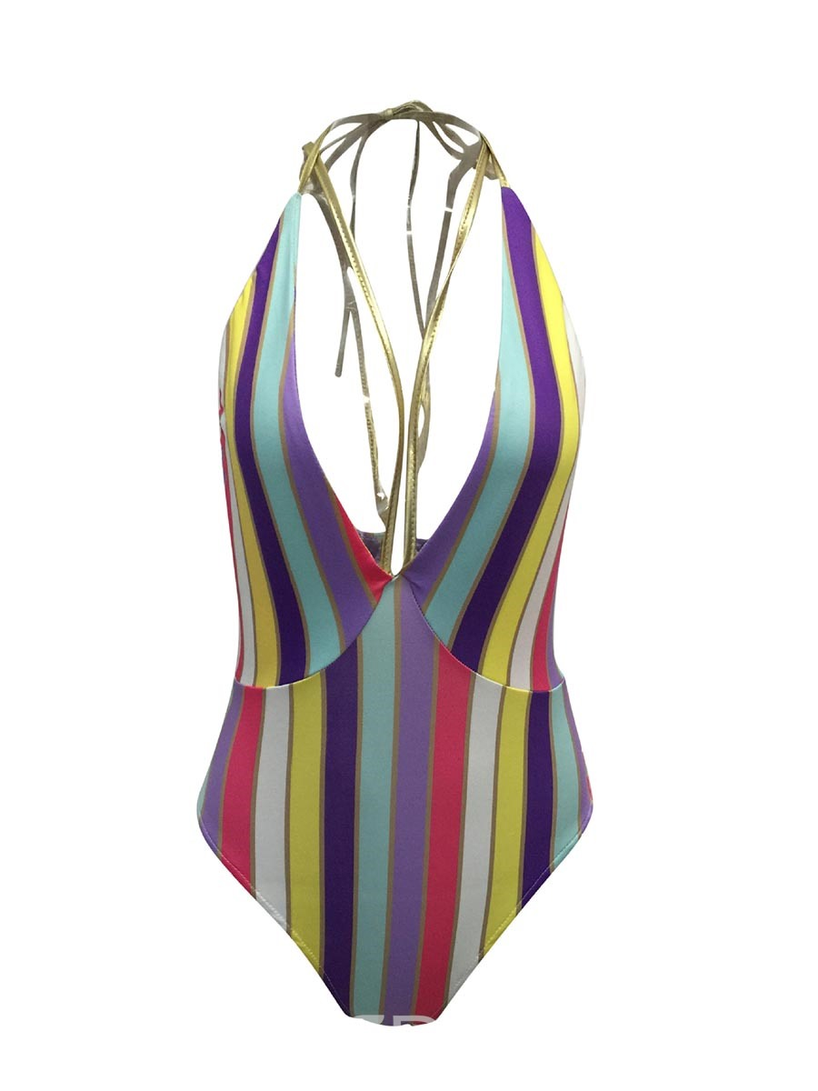 Ericdress Sexy Deep V-Neck Color Stripe One Piece Swimwear