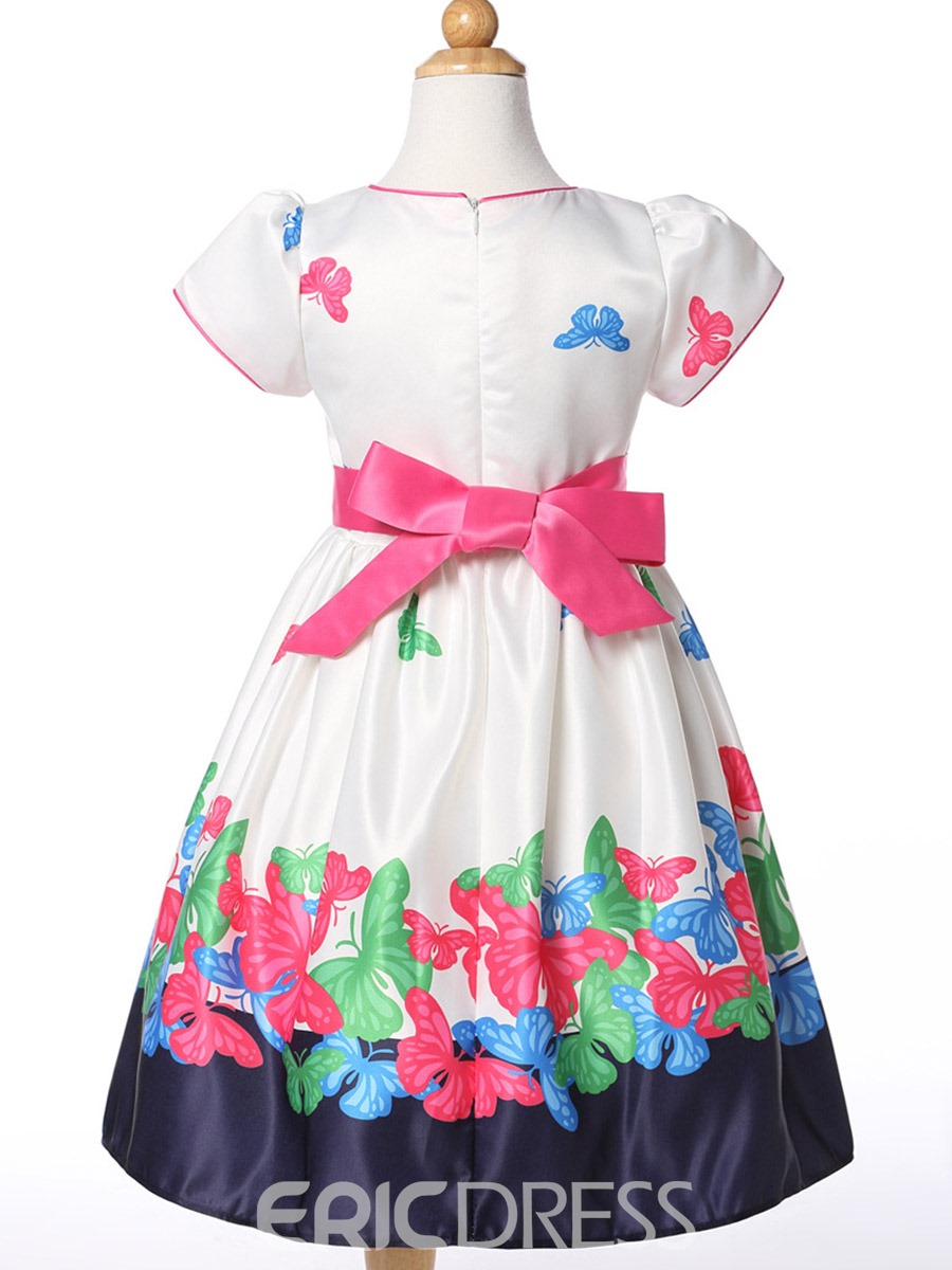 Ericdoress Butterfly Printed Cotton Girls Day Dress