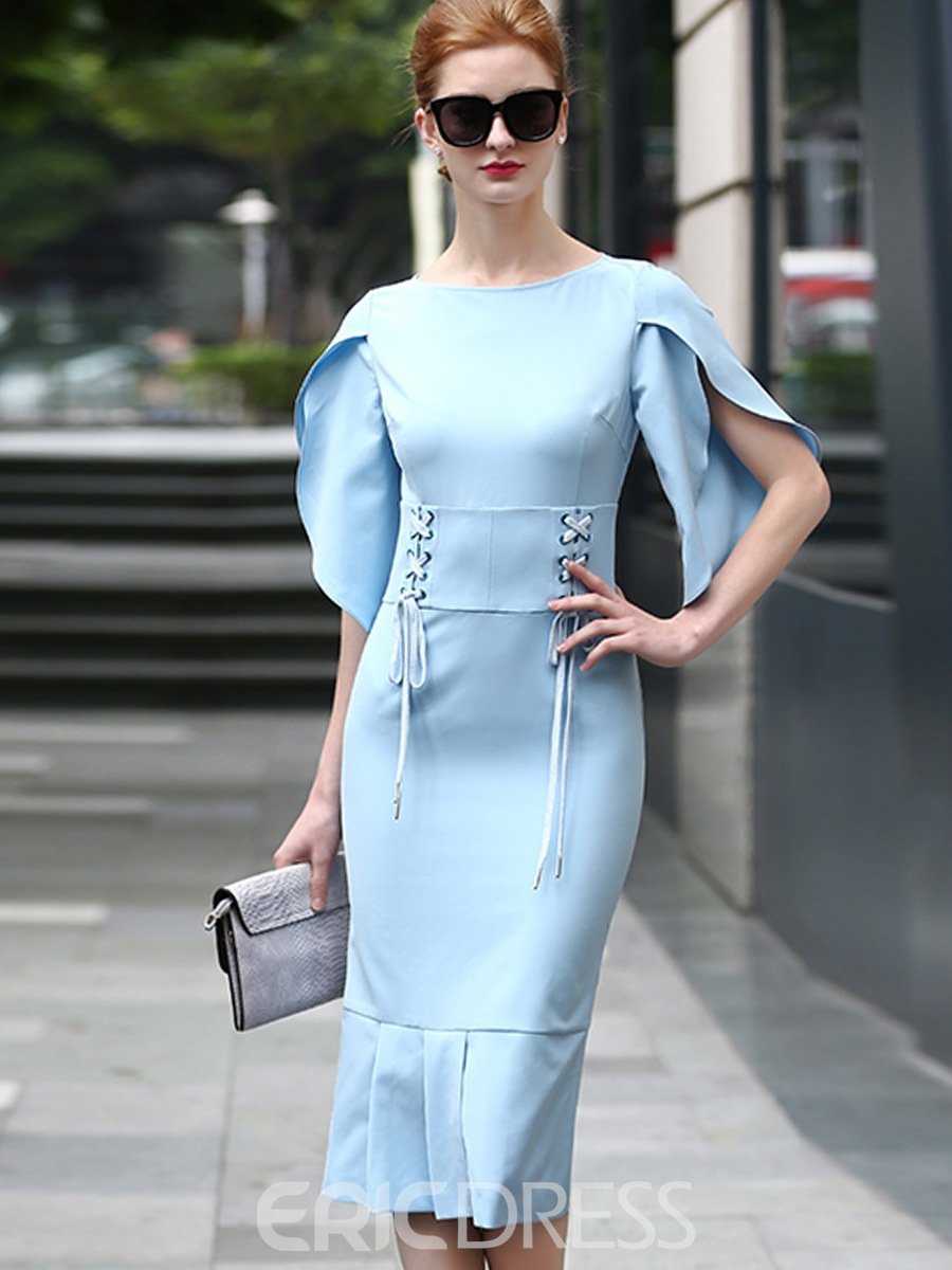 Ericdress Half Sleeves Solid Color Sheath Dress