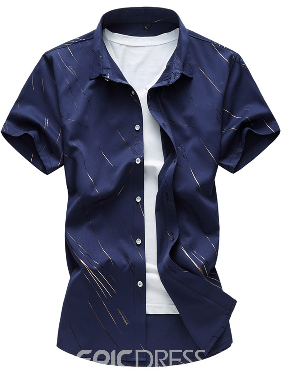 Ericdress Large Size Short Sleeve Print Men's Shirt