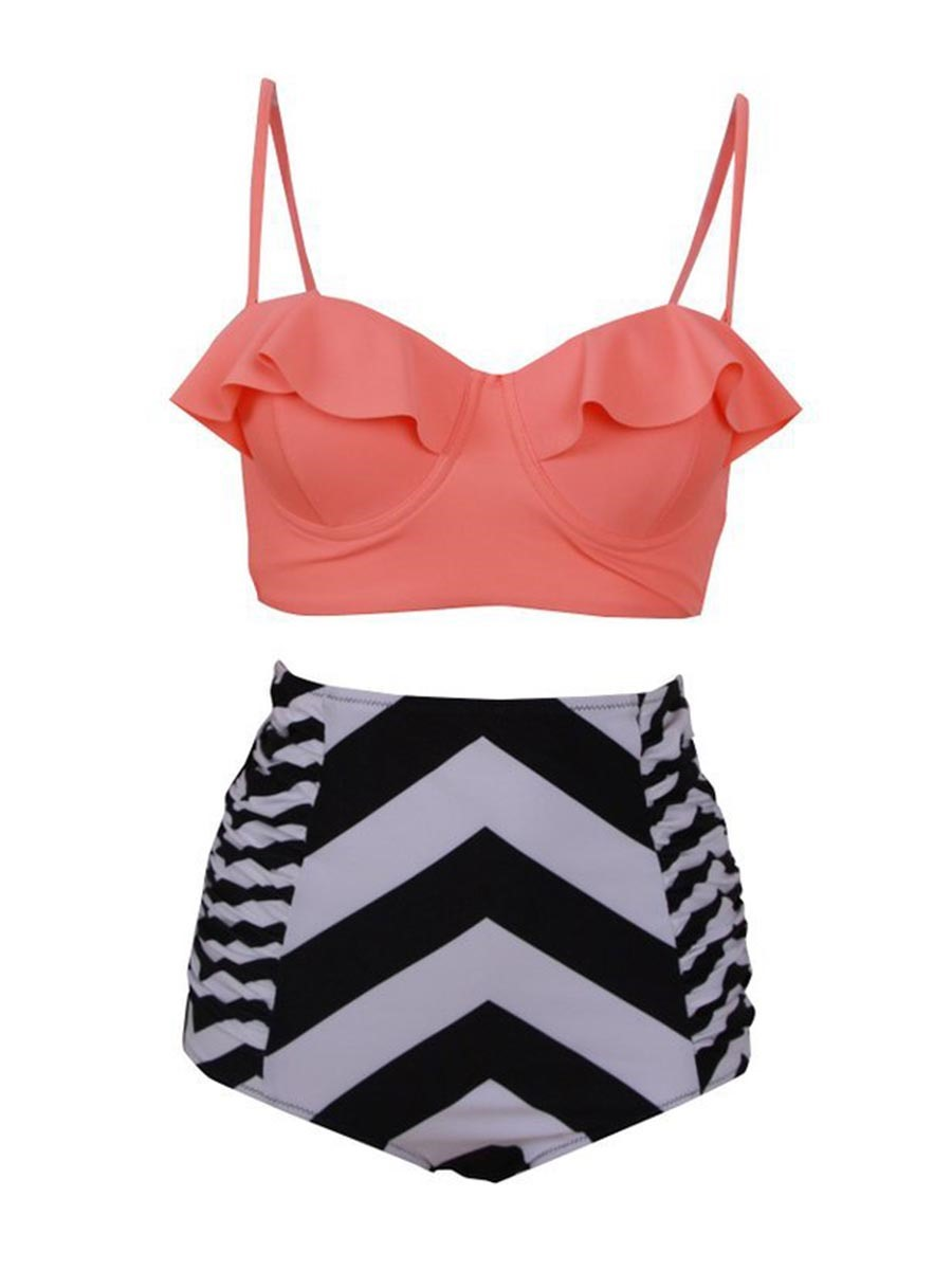 Ericdress Spaghetti Strap High Waist Falbala Tankini Set (Plus Size Available)