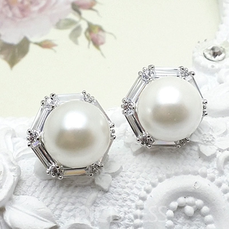 Ericdress Concise Sexangle Pearl Earring for Women