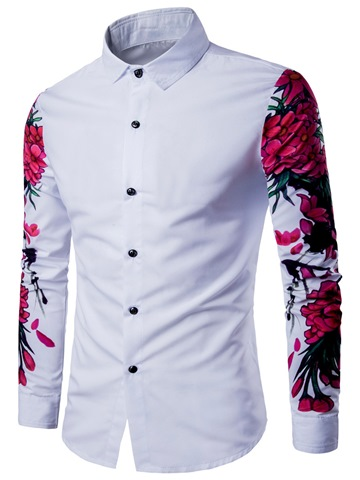 Ericdress Lapel Long Sleeve Flower Print Slim Casual Men's Shirt