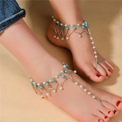 Ericdress Personality Handmade Pearl Turquoise Tassel Womens Anklet