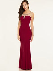 Image of Ericdress Bateau Neck Backless Beaded Evening Dress