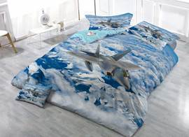 Fighter Aircraft Soaring in Blue Sky Cotton Luxury 3D Printed 4-Pieces Bedding Sets/Duvet Covers