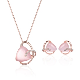 Ericdress Pink Stone Pendant Rose Gold Jewelry Set