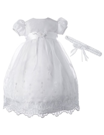 Ericdress Embroidery Beading Flower Baby Girls Christening Baptism Dress