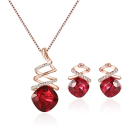 Ericdress Cushion Cut Ruby Twisted Jewelry Sets
