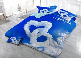 Love Shaped Clouds Cotton 3D Printed 4-Pieces Bedding Sets/Duvet Covers