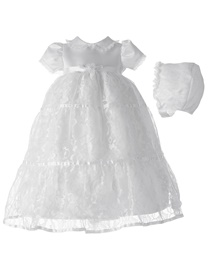Ericdress Baby Girls Lace Tulle Christening Gown with Bonnet