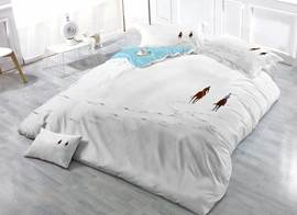 Two Person Riding Horse in White Snow Field Cotton Luxury 3D Printed 4-Pieces Bedding Sets/Duvet Covers