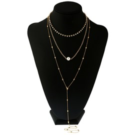 Ericdress Alluring Multilayer Long Alloy Pearl Pendant Women's Necklace