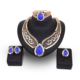 Ericdress Stunning Pear Cut Colored Stone Jewelry Set
