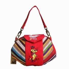 Ericdress Versatile Ethnic Stripe Canvas Handbag