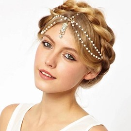 Ericdress Princess Style Forehead Pearl Tassel Hair Accessories