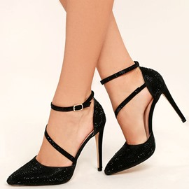 Ericdress Rhinestone Pointed Toe Line-Style Buckle Pumps