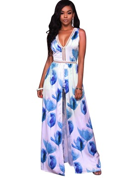 Ericdress V-Neck Sleeveless Wide Leg Exotic Women's Jumpsuits