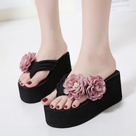 Ericdress Sweet Flower Decorated Wedge Mules Sandals