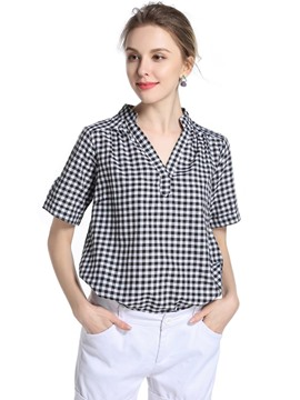 Ericdress V-Neck Plaid Loose T-Shirt