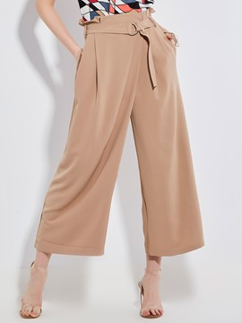 Loose Plain Wide Legs Women's Pants
