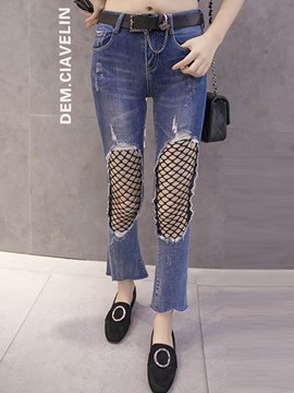 Ericdress Mid-Waist Color Block Patchwork Jeans
