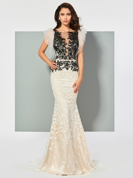 Ericdress Bateau Lace Applique Mermaid Evening Dress In Floor Length