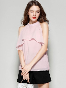 Ericdress Solid Color Falbala Chiffon Tank Top