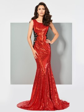 Ericdress Scoop Neck Applique Beaded Sequin Mermaid Evening Dress With Train