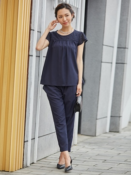 Ericdress Lace Patchwork T-shirt And Ankle Length Pants Suit