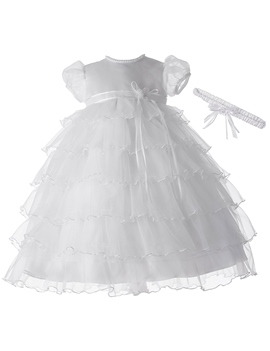 Ericdress Tiered Layers Tulle Infant Girls Christening Gown for Baptism