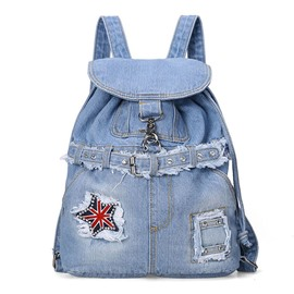 Ericdress All Match Rivets Draw String Denim Backpack