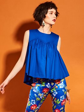 Ericdress Pleated Blue Tank Top