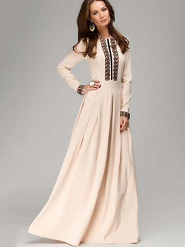Ericdress High-Waist Floor-Length Lace Long Sleeve Dress