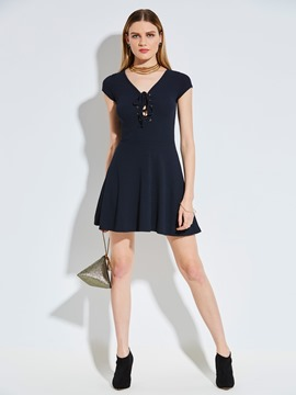Ericdress V-Neck Plain Lace-Up A-Line Dress