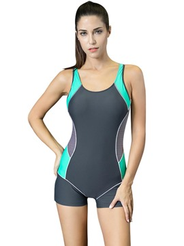 Ericdress Sport Color Block Backless One Piece Swimwear