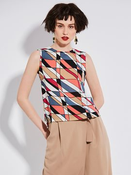 Ericdress Color Block Geometric Pattern Tank Top