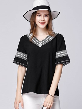 Ericdress Plus-Size V-Neck Patchwork Half Sleeve T-shirt