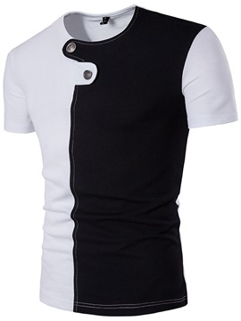 Ericdress Color Block Unique Design Casual Men's T-Shirt
