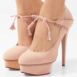 Ericdress Platform Lace-Up Round Toe Pumps