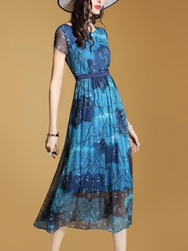 Ericdress Silk Print Short Sleeve Summer Maxi Dress