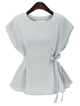 Ericdress Plain Loose Bowknot Top